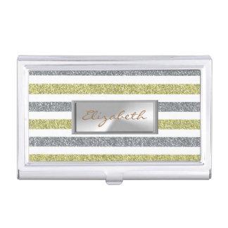 Modern Elegant  Girly , Glittery Striped Business Card Holder