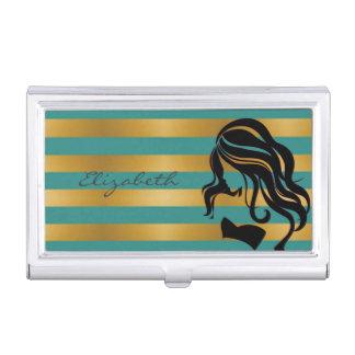 Modern Elegant  Girly ,Striped ,Girl Silhouette Business Card Holder