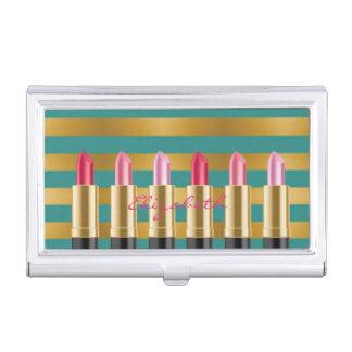 Modern Elegant  Girly ,Striped ,Lipsticks Business Card Holder