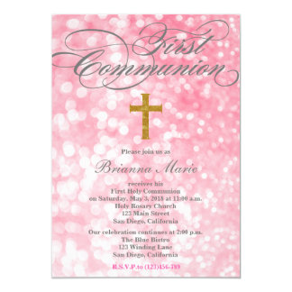 Modern Elegant Glitter Cross Communion Invitation