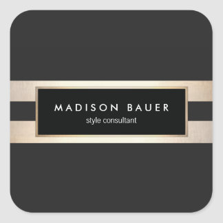 Modern Elegant Gold and Black Stripes Square Sticker