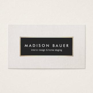 Modern Elegant Gold Lined Black and Beige Linen Business Card