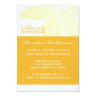 "Modern Elegant Golden Glow Birthday Party 5"" X 7"" Invitation Card"