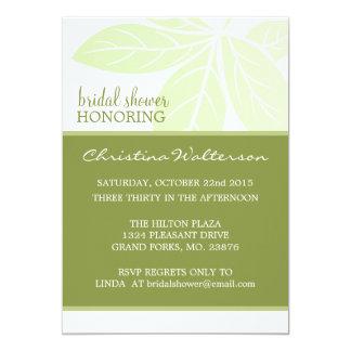 "Modern Elegant Green Woodbine Bridal Shower 5"" X 7"" Invitation Card"