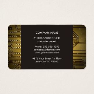Modern Elegant Grey Gold Circuit Computer Repair Business Card