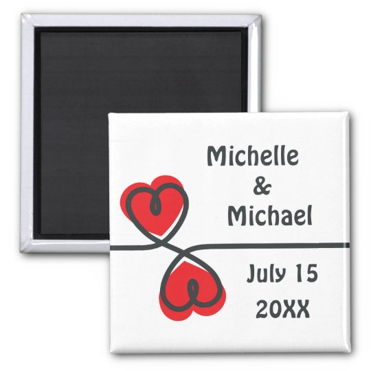 Modern elegant hearts Save the Date magnet