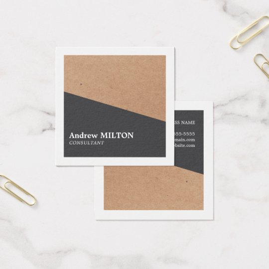 Modern Elegant Kraft Grey White Geometric Square Business