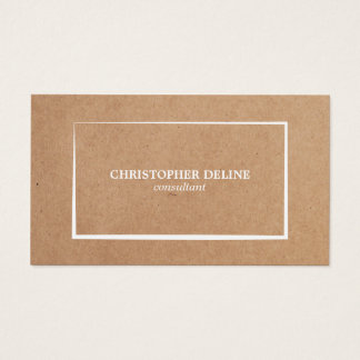 Modern Elegant Kraft Paper White Consultant Business Card