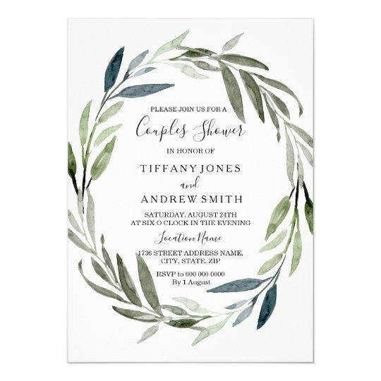 Modern Elegant Leaf Wreath Couples Shower Invite