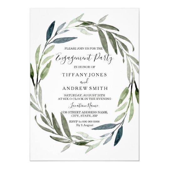 Modern Elegant Leaf Wreath Engagement Party Invite