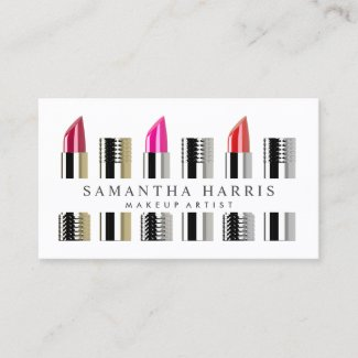 Modern Elegant Lipstick Makeup Artist Business Card
