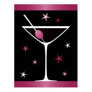 Modern elegant martini cocktail glass black pink postcard