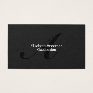 Modern Elegant Monogram Professional Black Business Card