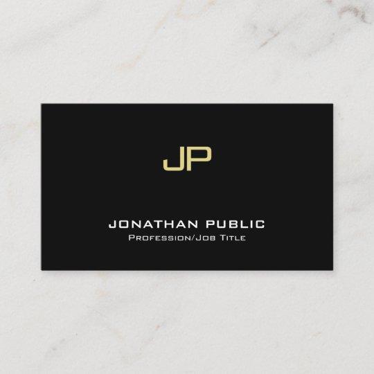 Modern Elegant Monogram Professional Black Gold Business Card