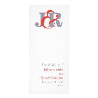 Modern Elegant  Monogram Wedding Ceremony Program Rack Card