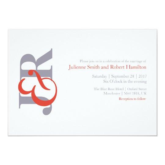 Modern Elegant Monogram Wedding Invitation