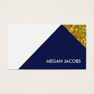 Modern Elegant Navy Faux Gold Sparkle Geometric Business Card