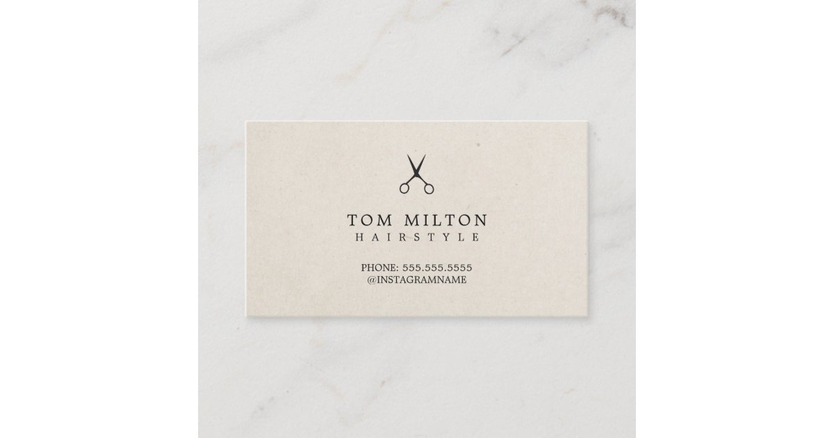 Modern Elegant Paper Texture Scissors Hairdresser Business Card Zazzlecouk