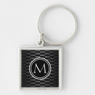 Modern Elegant Pattern and Monogram Key Ring
