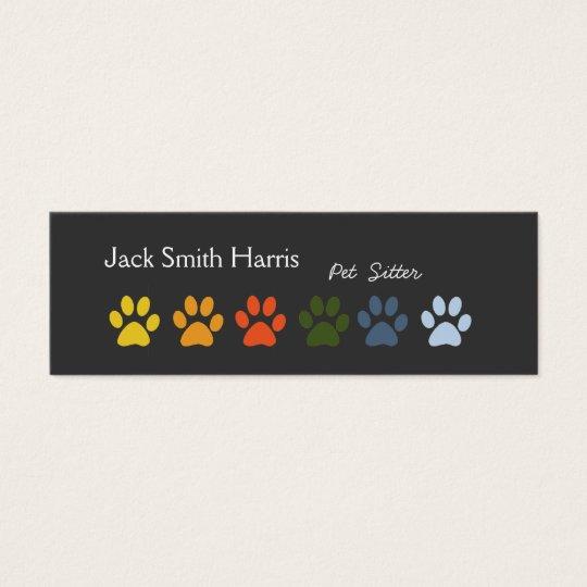 Modern Elegant Paws Pet Sitter Veterinarian Mini Business Card