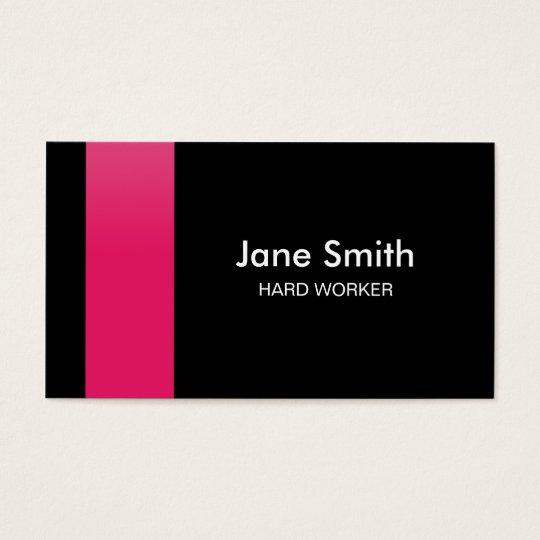 Modern Elegant Pink and Black Business Card