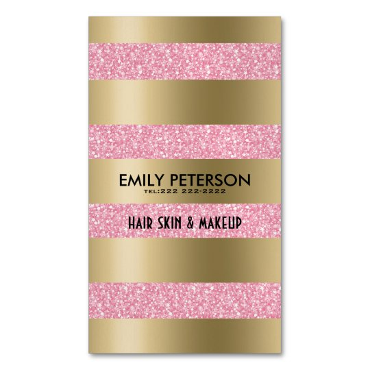 Modern Elegant Pink Glitter And Gold Stripes Magnetic