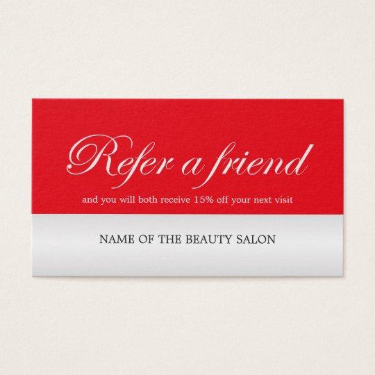 Modern Elegant Red Faux Silver Referral Card