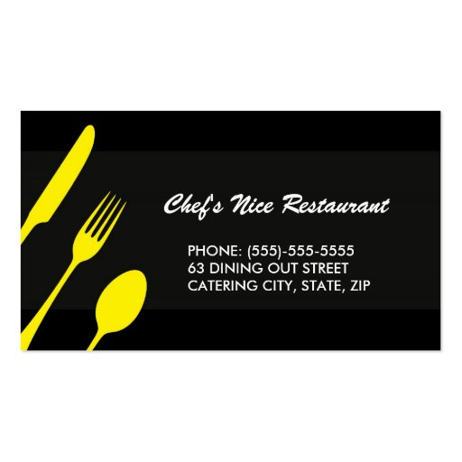 Modern elegant restaurant or catering double sided for Catering business cards samples