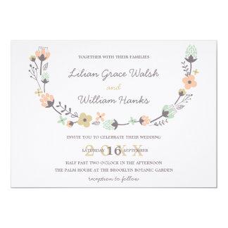 Modern Elegant Retro Floral Wreath Wedding Card