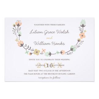 Modern Elegant Retro Floral Wreath Wedding Personalized Invite