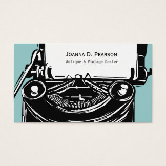 Modern Elegant Retro Writer Vintage Typewriter Business Card