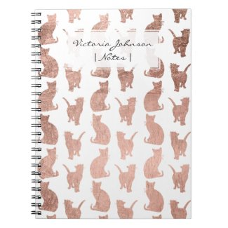 Modern elegant rose gold cats pattern notebook
