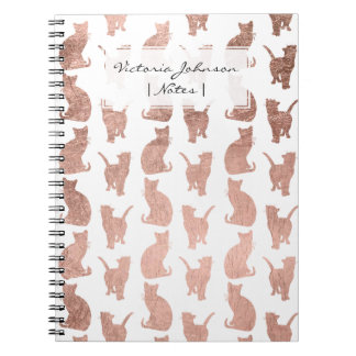 Modern elegant rose gold cats pattern custom notebook