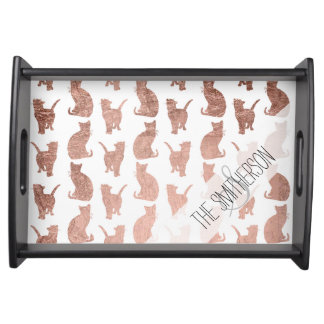 Modern elegant rose gold cats pattern custom serving tray
