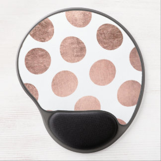 Modern elegant rose gold hand drawn big polka dots gel mouse mat