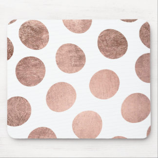 Modern elegant rose gold hand drawn big polka dots mouse pad