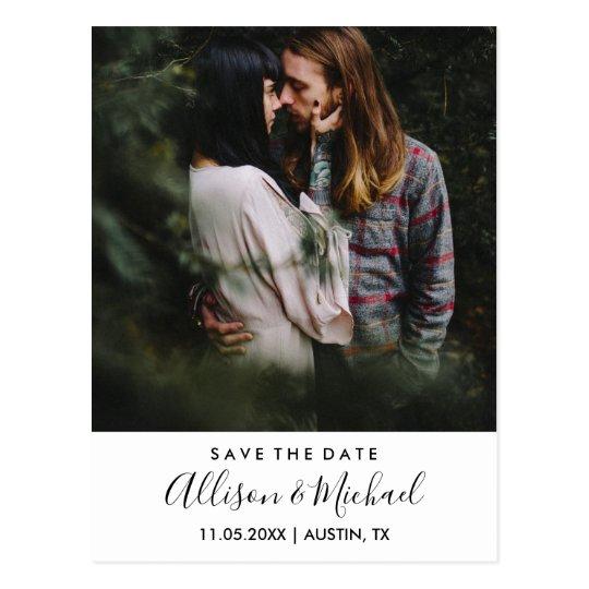 Modern Elegant Script Wedding Save The Date Photo