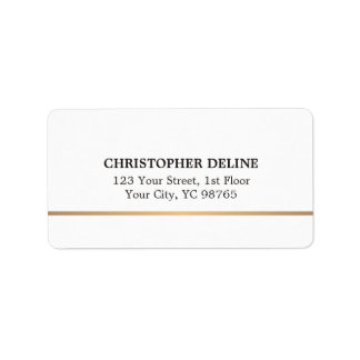 Modern Elegant Simple White Faux Copper Line Label