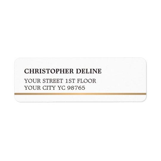 Modern Elegant Simple White Faux Copper Line Return Address Label