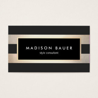 Modern Elegant Striped Black and FAUX Gold Foil 2