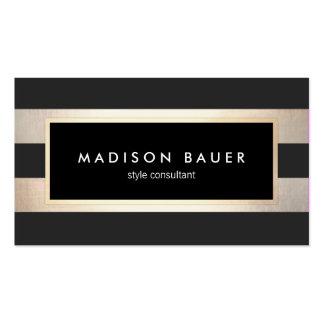 Modern Elegant Striped Black and FAUX Gold Foil 2 Pack Of Standard Business Cards