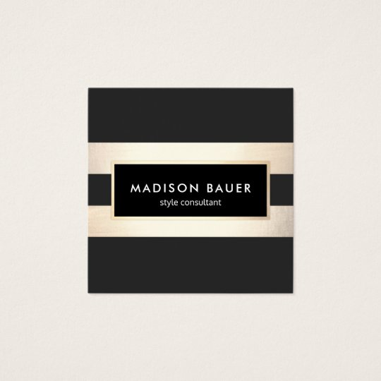 Modern Elegant Striped Black and FAUX Gold Foil