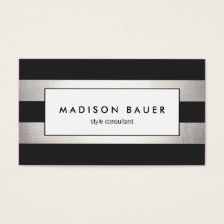 Modern Elegant Striped Black and FAUX Silver Foil