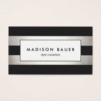 Modern Elegant Striped Black and FAUX Silver Foil Business Card