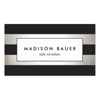 Modern Elegant Striped Black and FAUX Silver Foil Pack Of Standard Business Cards