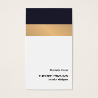 Modern Elegant Stripes Blue Faux Gold Designer Business Card