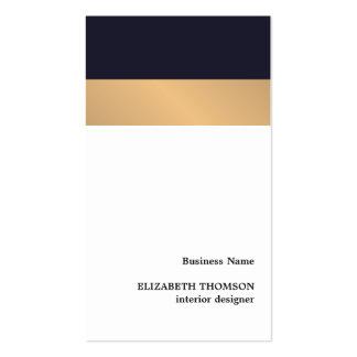 Modern Elegant Stripes Blue Faux Gold Designer Pack Of Standard Business Cards
