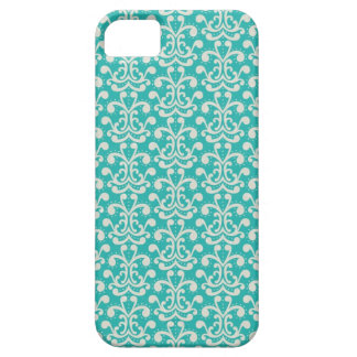 Modern Elegant Teal Damask Pattern iPhone 5 Case