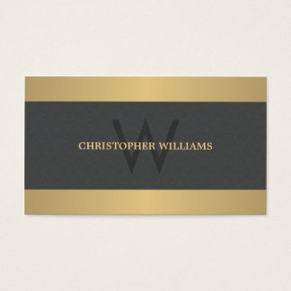 Modern Elegant Texture Grey Faux Gold Monogram Business Card