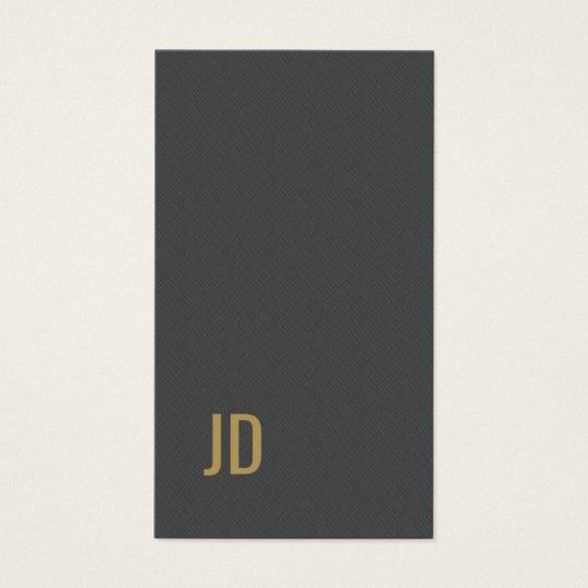 Modern Elegant Texture Grey Faux Gold Monogram Business